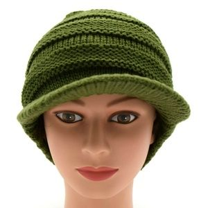 Women Stretch Knit Brimmed Beanie Olive New